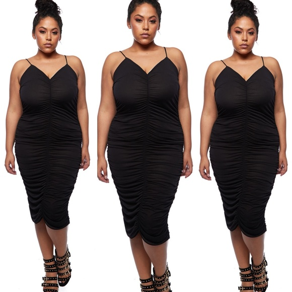Dresses 3x New Plus Size Black Ruched Dress Poshmark